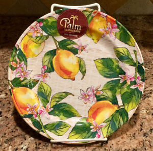 Image is loading Palm-Restaurant-Lemon-Tree-Lemons-Melamine-Dinner-Plates- & Palm Restaurant Lemon Tree Lemons Melamine Dinner Plates ~ Set of 4 ...