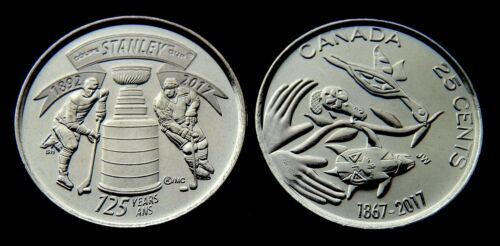 UNC 2017 CANADA 2 x 25¢ Stanley Cup and 150 Year Commemoration