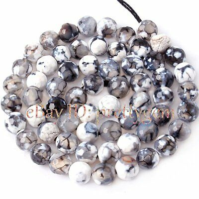 4MM 6MM 8MM 10MM 12MM FACETED ROUND CRACKED AGATE GEMSTONE BEADS STRAND 15""
