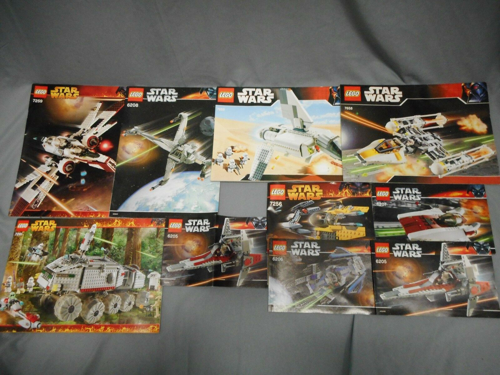 LEGO STAR WARS LOT OF 10 INSTRUCTION MANUALS ONLY 7259 6208 7261 7658 AND MORE