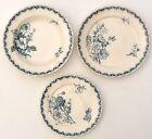 3 Assiettes, plate, creuse et à dessert, faïence de Sarreguemines, modèle LINNEE
