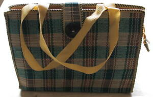 Ladies-Women-Jute-Weave-Handbag-Green-Red-Square-L