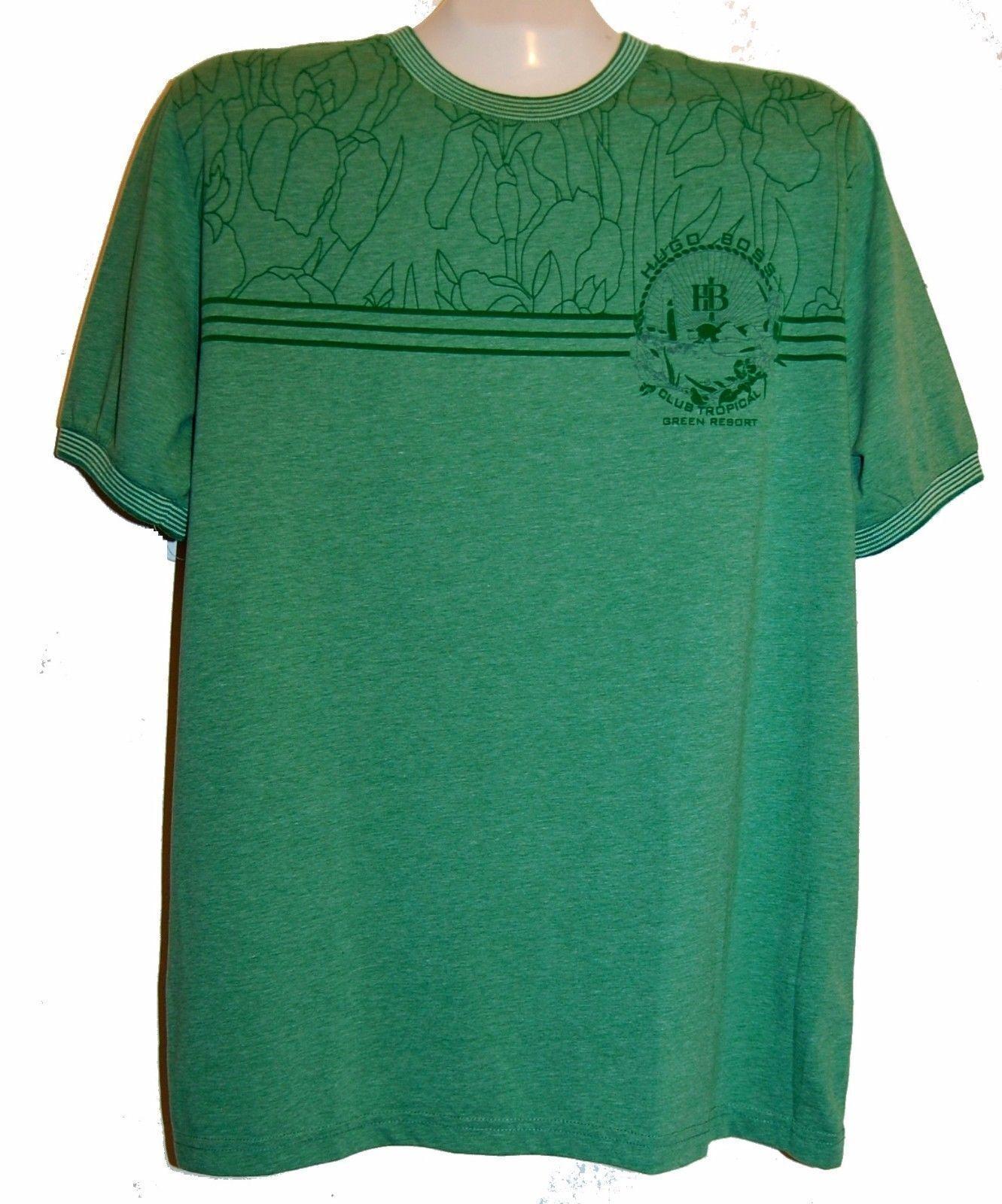 Hugo Boss Grün Graphic Design Cotton  Herren T- Shirt Sz 3XL NEW Grün Label Shirt
