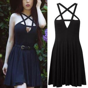 AU-Women-Summer-Clubwear-Gothic-Pentagram-Strappy-Skater-Ruffle-Mini-Party-Dress