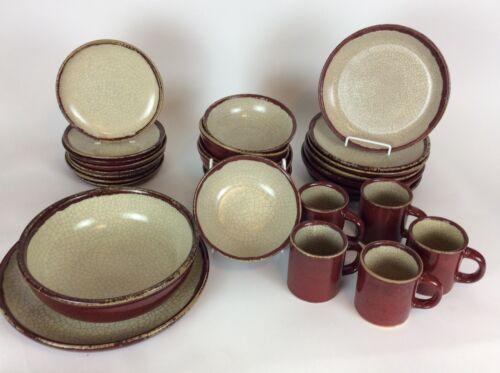 Pier1 Crackle Drip Glaze Dinnerware Red Plates Bowls Serving Pieces 29 Pieces