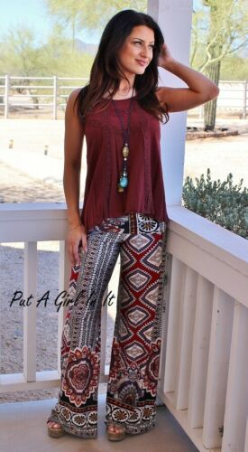 J UP FOLD OVER TAUPE BURGUNDY BOHO TRENDY WIDE LEG TALL PALAZZO PANTS S M L USA