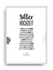 Hochzeit Karte Silberhochzeit Geschenkidee Zum 25 Hochzeitstag