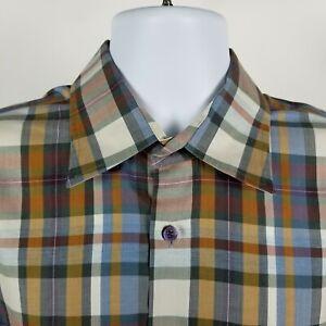 Robert-Talbott-Mens-Brown-Blue-Herringbone-Plaid-Check-Dress-Button-Shirt-Sz-XL
