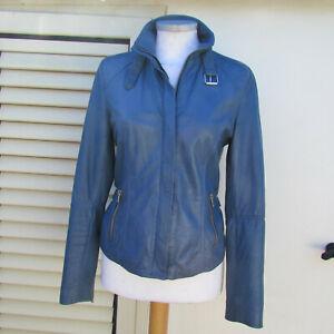 on sale fe183 461d1 Dettagli su Giacca chiodo pelle azzurra