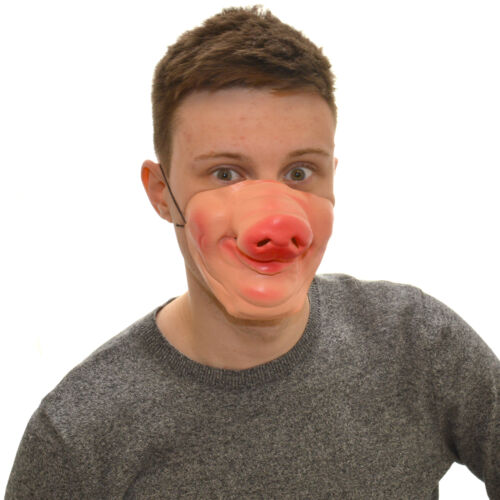 MEZZA faccia felice Piggy Divertente Costume Maschera Di Lattice Per Bambini /& Adulti Halloween