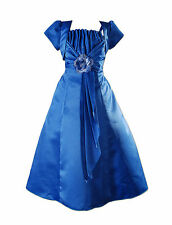 New Blue Satin Bridesmaid Flower Girls Pageant Dress with Bolero 11-12 Years