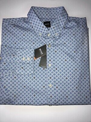 NWT $138 Hugo Boss Lod/_53 Men/'s Regular  Fit Cotton Silver Dress Shirt Size XL