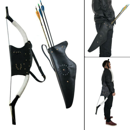 Traditional Archery Leather Recurve Bow Bag Arrow Quiver Holder Waist Hip Back