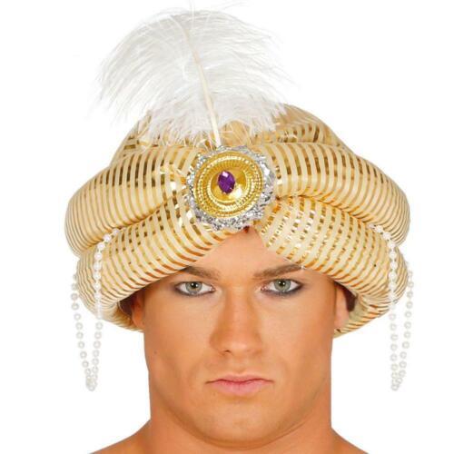 Gold Maharaja Turban Chapeau avec Plumes /& Bijoux pantographe robe fantaisie objet