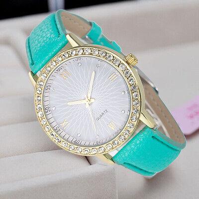 Moda Donna's Diamante Pelle Quarzo Acciaio Inox Orologio Da Polso Per Ragazza