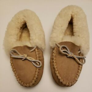 LL-Bean-Women-s-Wicked-Good-Moccasin-Tan-Suede-Shearling-Slippers-Size-5-NWOT