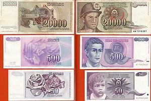YUGOSLAVIA-conjunto-3-billetes-utiliza-20-000-500-50-dinara-1987-90-91-Pick95