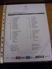 19/09/2012 Colour Teamsheet: Celtic v Benfica [Champions league] . Thanks for vi