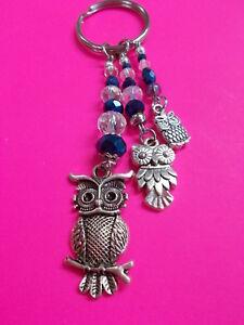 LOVELY-OWL-CHARMS-ON-A-CRYSTAL-BEAD-KEY-RING-METALLIC-DARK-BLUE-9-1-2-cm-268