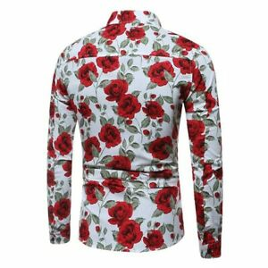 Floral-dress-shirt-tops-long-sleeve-casual-luxury-men-039-s-slim-fit-formal-t-shirt