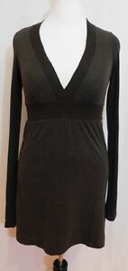 f44bfb955fec James Perse Heather Brown Long Sleeve V-neck Pima Cotton Dress
