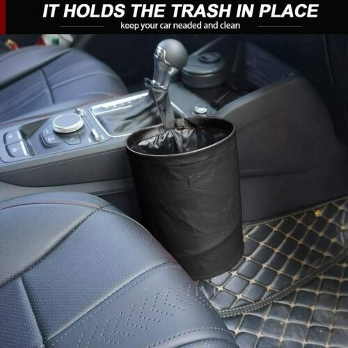 Car Trash Can Garbage Bin Bag Organizer For Vehicles Waterproof Black Foldable