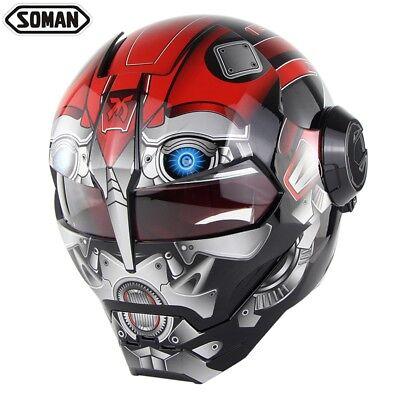 Soman 515 Motorcycle Helmet Skull Casque Motorbike Gray Robot Glossy Helmets