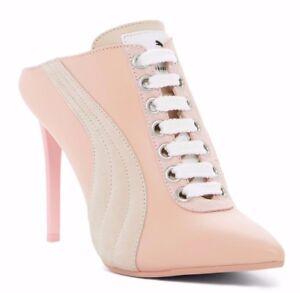 eecf821de15  400 Fenty PUMA by Rihanna Lace Up Leather Womens Mule Heel Pink 7.5 ...