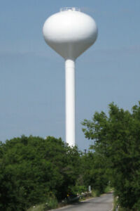 HO-Scale-Water-Tower-Spherical-style-3D-printed-kit-Gray-High-detail-8in