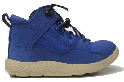 Boys Childrens Kids Timberland Flyroam Blue Leather Trainers Shoes Size UK 8.5