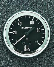 Sunpro 2 58 Mechanical Oil Pressure Gauge Black Chrome Bezel New Cp8061
