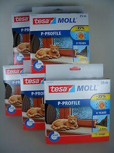 tesa-Moll-P-Profil-classic-braun-Fensterdichtung-Tuerdichtung-2-5mm-9mm-125m