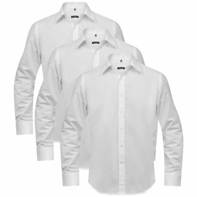 newest 5a65b 797c1 Vidaxl Set 3 Camicie da Uomo bianche Slim eleganti a maniche lunghe Misuras