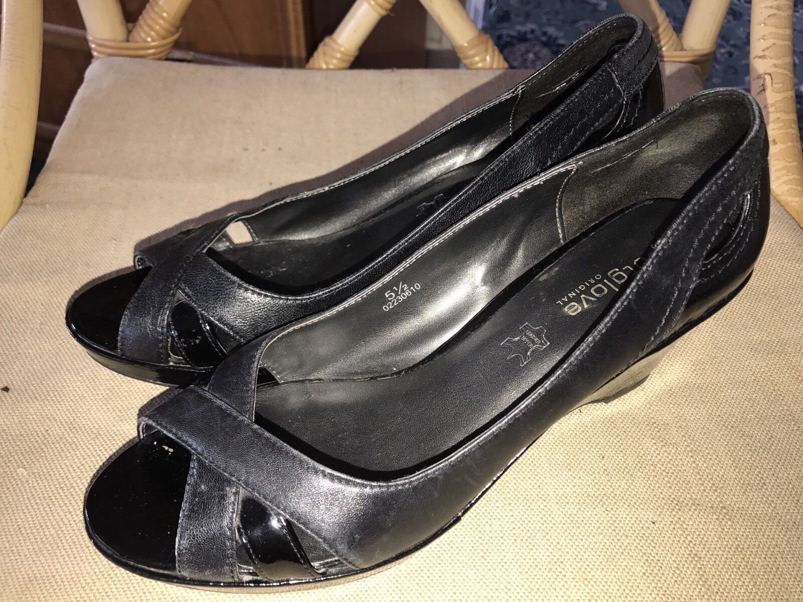 M & S Patent FOOTGLOVE Open Toe Black Leather & Patent S Wedge STD a5904a