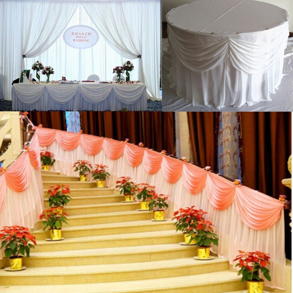3 7.3M Luxury Ice Silk Fabric Table Skirts with Swags for Wedding Table Covers D