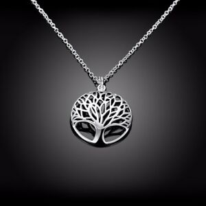 Womens 925 sterling silver tree of life pendant with 18 necklace image is loading women 039 s 925 sterling silver tree of mozeypictures Gallery