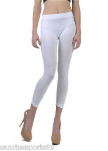 NEW SEAMLESS CAPRI PANTS STRETCH WHITE SPANDEX TIGHT YOGA LEGGING ...