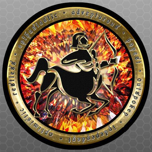 Round Vinyl Sticker Car Bumper Sticker 5x5 Horoscope Zodiac Sagittarius