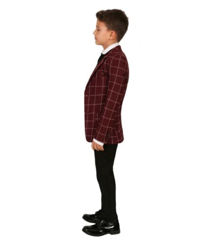 Kids Maroon Burgundy Modern Fit Check Wedding Suit Page Boys Prom communion suit