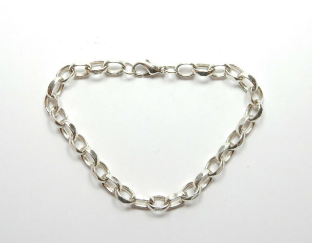 "Modern 925 Sterling Silver LONG OVAL LINK BELCHER BRACELET 16.6g 8.5"" - Polished"