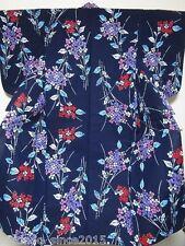 Vintage Yukata Kimono Robe #64 Hydrangea Pattern Cotton Indigo Fabric Japan