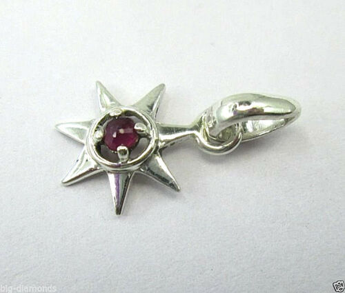 NATURAL REAL TAMBULI CUT RUBY GEMSTONE 925 SILVER SUN PENDANT WITH SILVER CHAIN