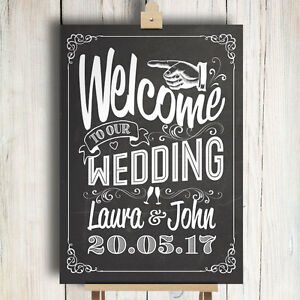 Image Is Loading Personalised Wedding Sign Chalkboard Style Welcome To Our
