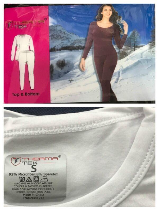New Women's Ultra-soft Microfiber Fleece Thermal Base Layer Top & Bottom Set