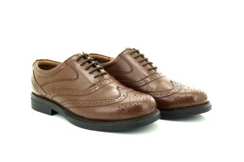 Mens Scimitar M963 Classic Leather Brogue Wing Cap Oxford Shoes Brown Leather