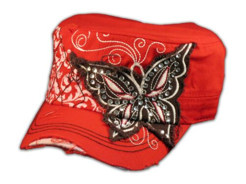 Red Cadet Cap with Brown Butterfly Distressed Military Hat