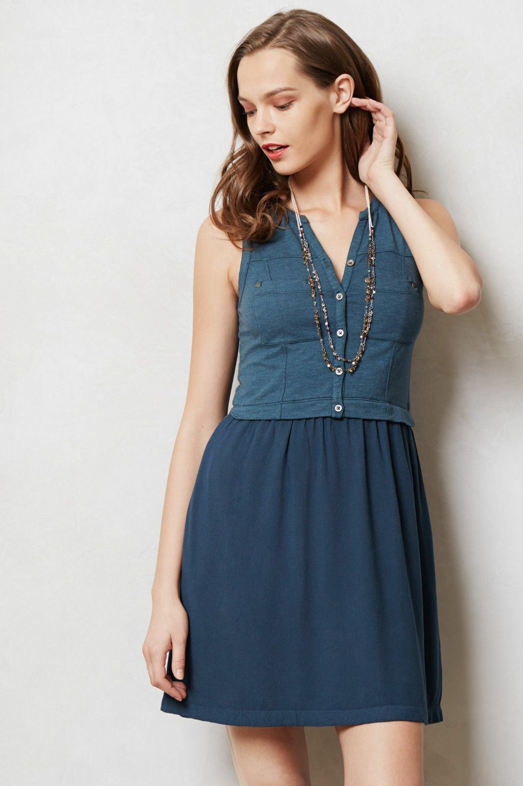 Anthropologie Dress Highway Day Shirtdress bluee Sleeveless Summer, Sizes M & L