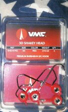 VMC 3D 3/16 oz barbarian shakey head jigs red 3/0 hook qty 4 fishing