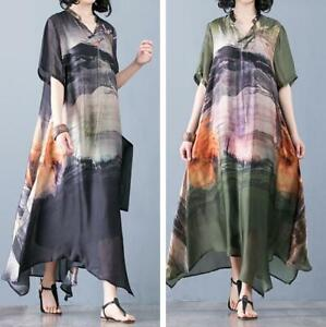 Summer-Women-Silk-Real-Floral-Maxi-Loose-Dresses-Robes-Ethnic-V-Neck-Long-Kaftan