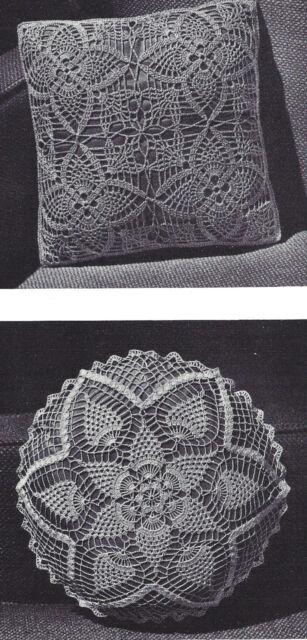 Vintage Crochet Pattern To Make Pineapple Motif Square Round Pillow